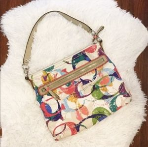 NWOT Coach Poppy Hippy Signature Crossbody Rainbow